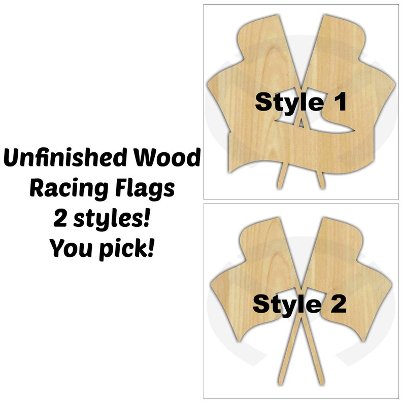 Racing Flags Unfinished Wood Laser Cutout Door Hanger image 0