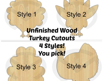 Turkey - 01624- Unfinished Wood Laser Cutout, Wreath Accent, Door Hanger, Ready to Personalize, Various Shapes and Sizes, Thanksgiving