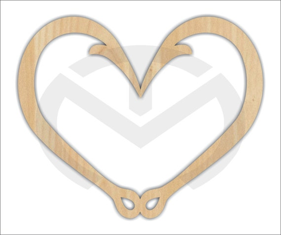 Wreath Accent Unfinished Wood Fish Hook Heart Laser Cutout Door Hanger