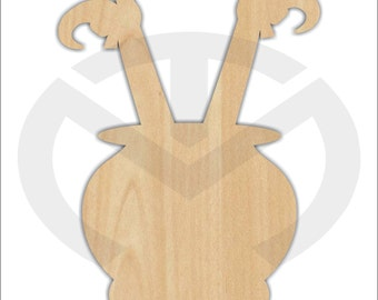 Witch Legs in Cauldron - 01569- Unfinished Wood Laser Cutout, Door Hanger, Wreath Accent, Ready to Personalize, Various Sizes, Halloween