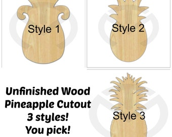 Pineapple - 01564- Unfinished Wood Door Hanger Laser Cutout , Home Decor, Ready to Personalize, Summer, Welcome, Various Shapes and Sizes
