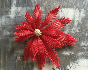 1950's red and white Poinsetta broach