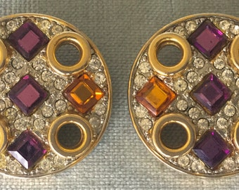 Huge CRAFT Signed JEWELED CROSS Amethyst Topaz Glass Crystals Art Deco Modernist Round Earrings Gold Metal Vintage Designer Couture Runway
