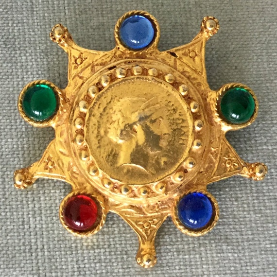 Huge VICTORIAN JEWELED COIN Multicolor Jewels of I
