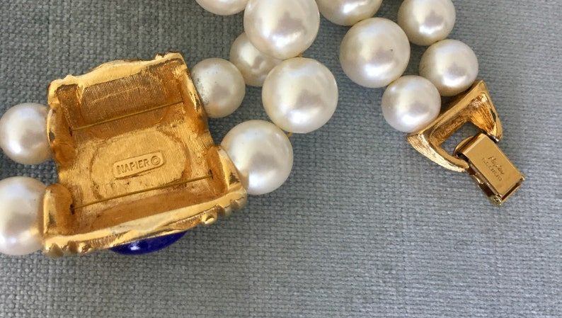 Fantastic NAPIER Signed Etruscan PEARLS /& LAPIS Glass Cabochons Choker Collar Necklace Gold Metal Vintage Designer Runway Couture Statement