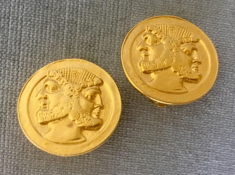 KJL Kenneth Jay Lane Signed JANUS HEADS Roman Coin Gold Metal Round Earrings Vintage Etruscan Revival Big Statement Designer Runway Couture
