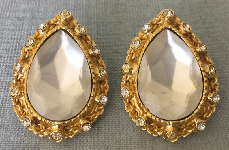 Massive POGGI PARIS Signed Faceted TEARDROP Frosted Glass Crystals Clip Earrings Gold Metal Vintage Designer Runway Couture France Statement