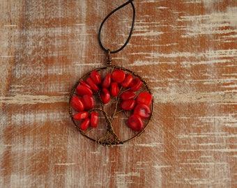 handmade coral tree of life pendant