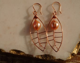 Handmade copper and pearl wire leaf earrings