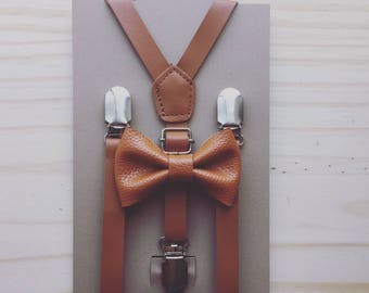 Caramel Brown Leather Suspenders and Bow Tie Brown Boys Suspenders Brown Rustic Wedding Suspenders