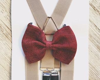 Wine and Beige Rustic Barnyard Wedding Suspenders Rustic Burlap Bow Tie Ring Bearer Outfit for Boys Suspenders