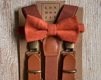Cognac Suspenders for Men with Burnt Orange Bow Tie Ring Bearer Groomsmen Gift Rustic Wedding Outfits for Kids Suspender and Bow Tie Sets