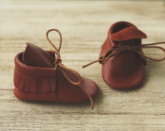 Ginger Brown Leather Moccasins, Baby Moccasins, Toddler Moccasins, Leather Moccasins, Leather Boots