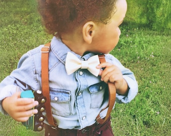 0a7607500214 Ring Bearer Outfit Rustic Wedding Suspenders Baby Leather Suspenders Boys  Leather Suspenders Toddler Suspenders Braces Brown Baby Suspenders