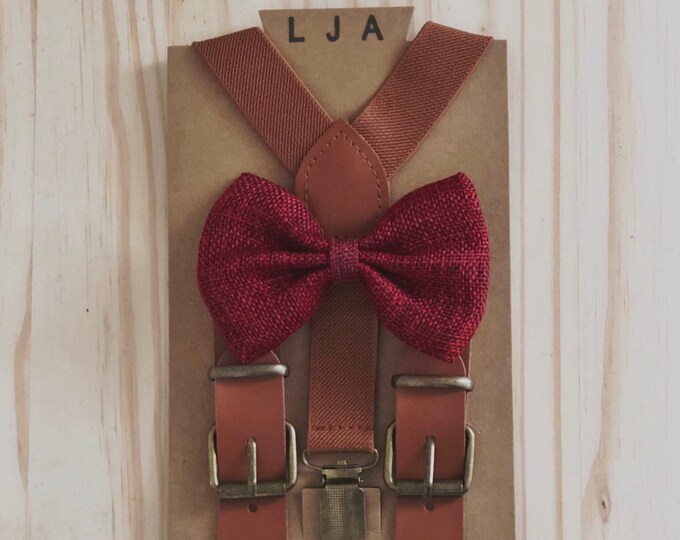 Featured listing image: Brown Suspenders for Men with Wine Bow Tie Ring Bearer Groomsmen Gift Rustic Wedding Outfits for Kids Elastic Suspender and Bow Tie Sets