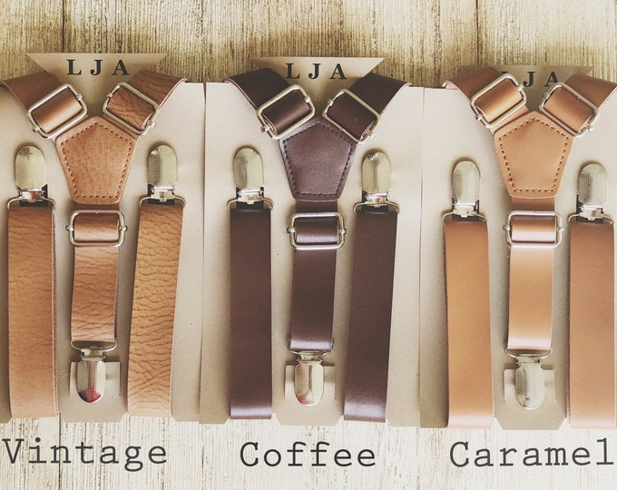 Featured listing image: Brown Wedding Suspenders with silver or brass clips and faux leather - Leather Suspenders for Groomsmen Suspenders and Tuxedo Suspenders,