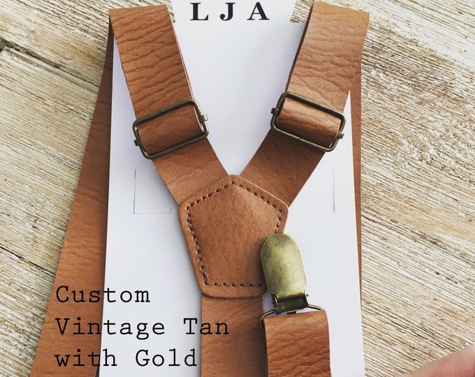 Featured listing image: Vintage Tan Mens Rustic Wedding Leather like Suspenders for Men Groomsmen Suspenders Groomsmen Gift Wedding Suspenders Ring Bearer Outfit