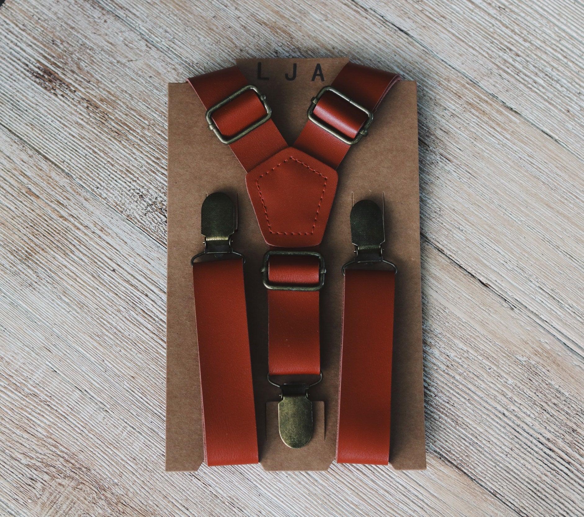 ecb260406e0e Cognac Wedding Suspenders Groomsmen Leather Suspenders Mens Rustic Wedding  Suspenders Boys Suspenders Ring Bearer