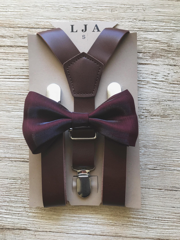 55909b8be401 Deep burgundy Groomsmen bow tie wedding Outfits baby Ring Bearer Outfit  rustic groomsmen bow tie and suspenders vintage wedding