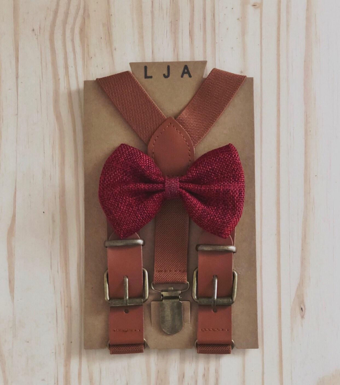 9d1c518fecbe Cognac Brown suspenders Wine Bow Tie Set Ring Bearer Groomsmen rustic  wedding outfits
