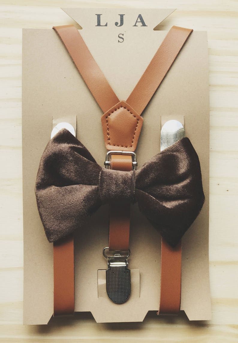 bf49fcdd45b3 Brown Velvet Bow tie leather Suspender for groomsmen outfits | Etsy