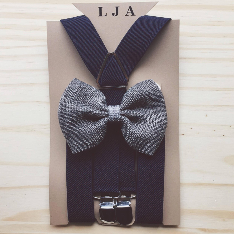 Rustic Burlap Ring Bearer Suspenders Grey Burlap Bow Tie Suspenders