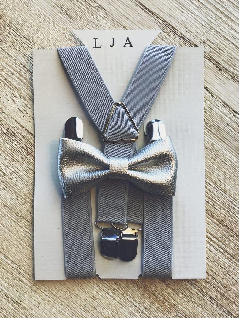 72bc0785f6d4 Silver Boys Bow Tie Silver Boys Bow Tie Set Suspender Bow Tie   Etsy
