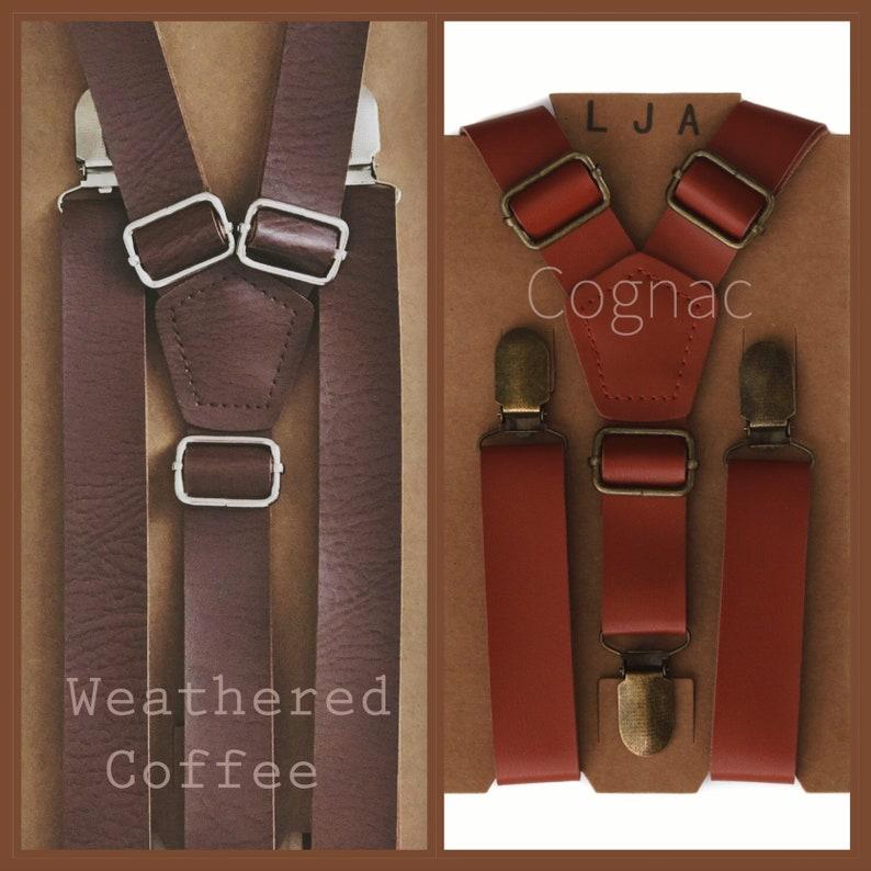 55644de197fb Rustic Wedding Suspenders Groomsmen Brown Leather Suspenders