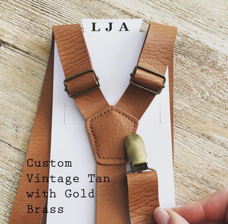 b57d3a90b546 Vintage Tan Wedding Suspenders Groomsmen Brown Leather