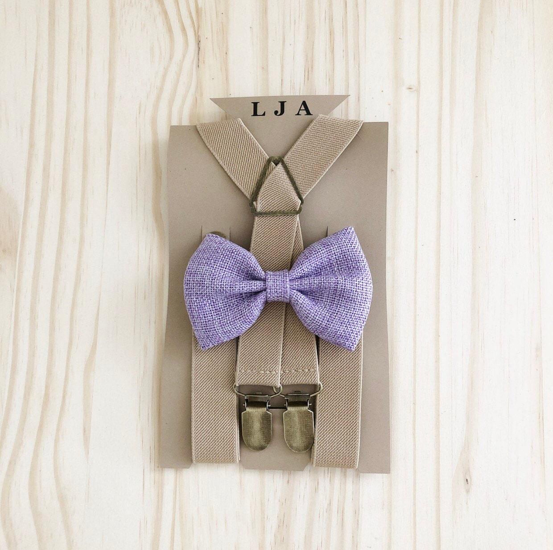 Groomsmen Lavender Burlap Bow Tie Suspenders Sand Beige Groomsmen