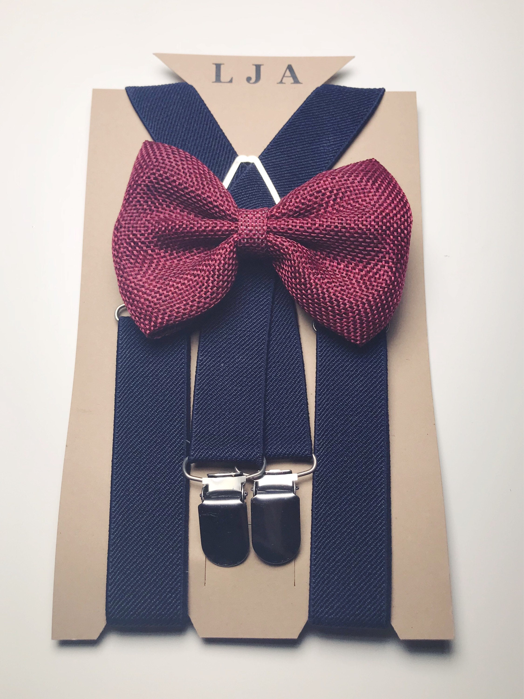 Navy Groomsmen Suspenders Wine Burlap Bow Tie Suspenders For Rustic