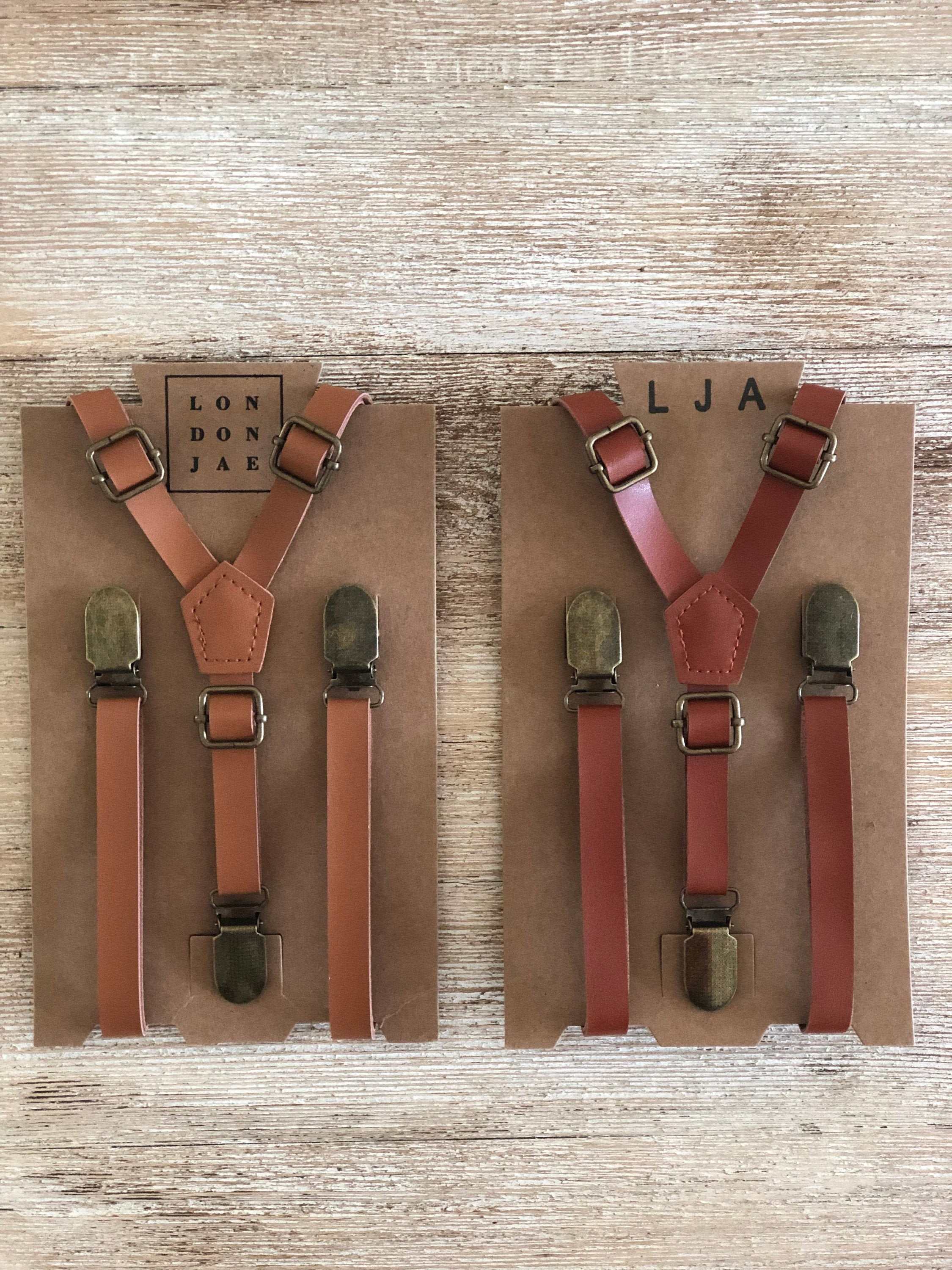 By London Jae Apparel Ring Bearer wedding outfits Leather Like for Kids Ages 2 mos to 17 Years Skinny Suspenders for Kids