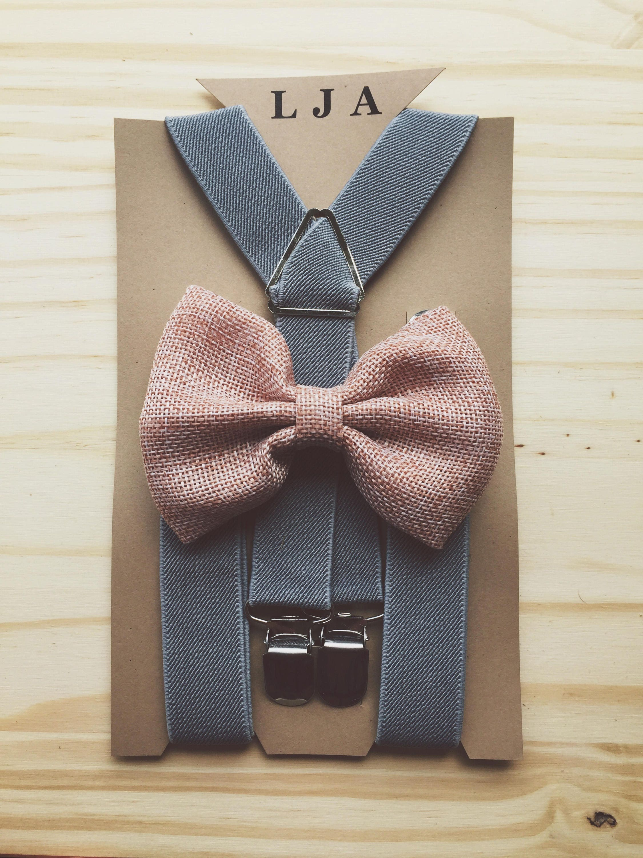 Groomsmen Blush Pink Burlap Bow Tie Suspender Set Rustic Burlap Ring