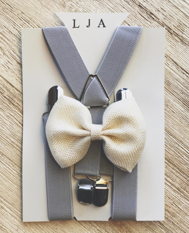 Rustic Burlap Ring Bearer Suspenders Ivory Burlap Bow Tie Suspenders