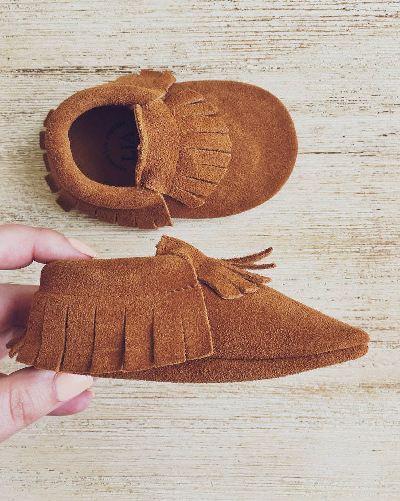 Leather Toddler Moccs Brown Baby Moccasins Brown Suede Baby image 0