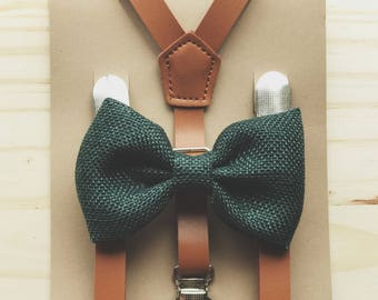 Brown Suspenders with Green Bow Tie  for Groomsmen Gifts Leather Suspender and Bowtie Set Outfits Suspenders for Men Suspenders for Women