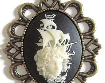 Retro vintage cameo necklace tattoo woman sailor rockabilly pin up steampunk fantasy gothic