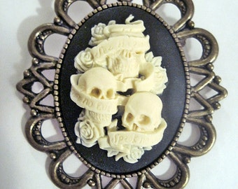 Retro vintage cameo brooch sugar skull like wise monkeys mexican day of the dead rockabilly pin up