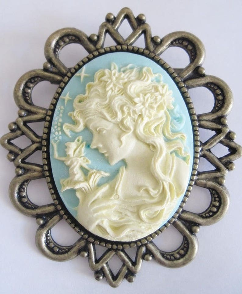Retro vintage cameo brooch woman with elve gothic witchcraft faery fantasy penny dreadful hobbit tolkien magical halloween wedding boheme