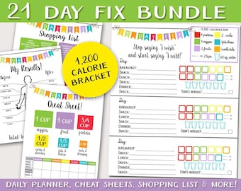 21 day fitness program logging system bundle tracking sheet beach body 1200 calorie bracket easy to use fix planner shopping list more