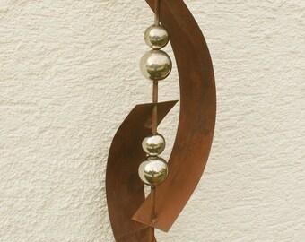 Gartendeko Skulptur Rost Deko Mit 5 Edelstahlkugel