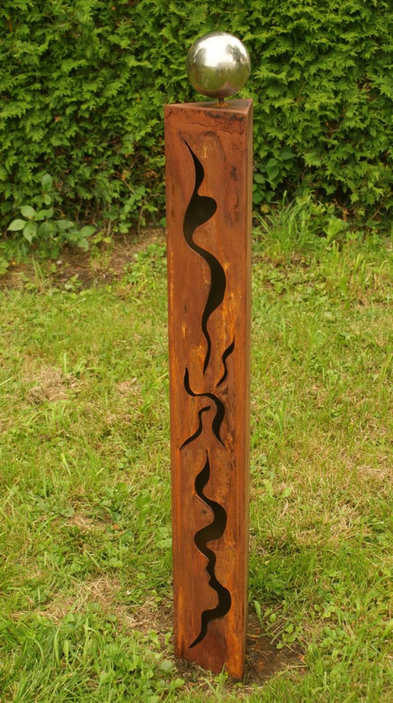 Gartendeko Rosts/äulen 125 cm und 100 cm mit Risse Edelstahlkugeln