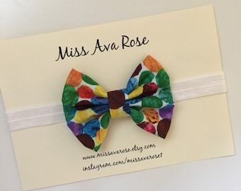 Very hungry caterpillar inspired bow on white headband, polka bow headband, baby bow, baby headband