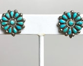 Vintage ZUNI Silver Turquoise Needlepoint Earrings Old Pawn Antique Fred Harvey Era 1940s