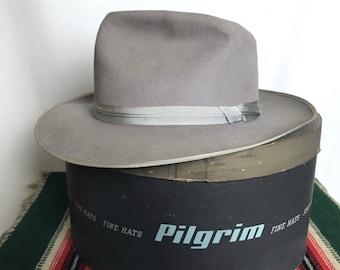 ae4c50e250d90 Vintage PILGRIM Wide Brim Fedora ~ size 7 1 8 to 7 1 4 ~ 1950s ~  Stratoliner   Open Road   Playboy