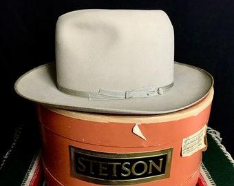 b6bf6d766af Vintage 1950s STETSON Twenty Five Open Road Fedora w  Box ~ size 7 1 8 ~  Western   Cowboy Hat ~ Wide Brim ~ Silverbelly