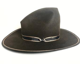 c2b0cc0b Vintage STETSON Cowboy Hat ~ 7 1/8 ~ Bound Edge ~ Western Fedora ~ Wide  Brim ~ Gus ~ Tom Mix ~ Open Road ~ 3X Beaver Fur Felt