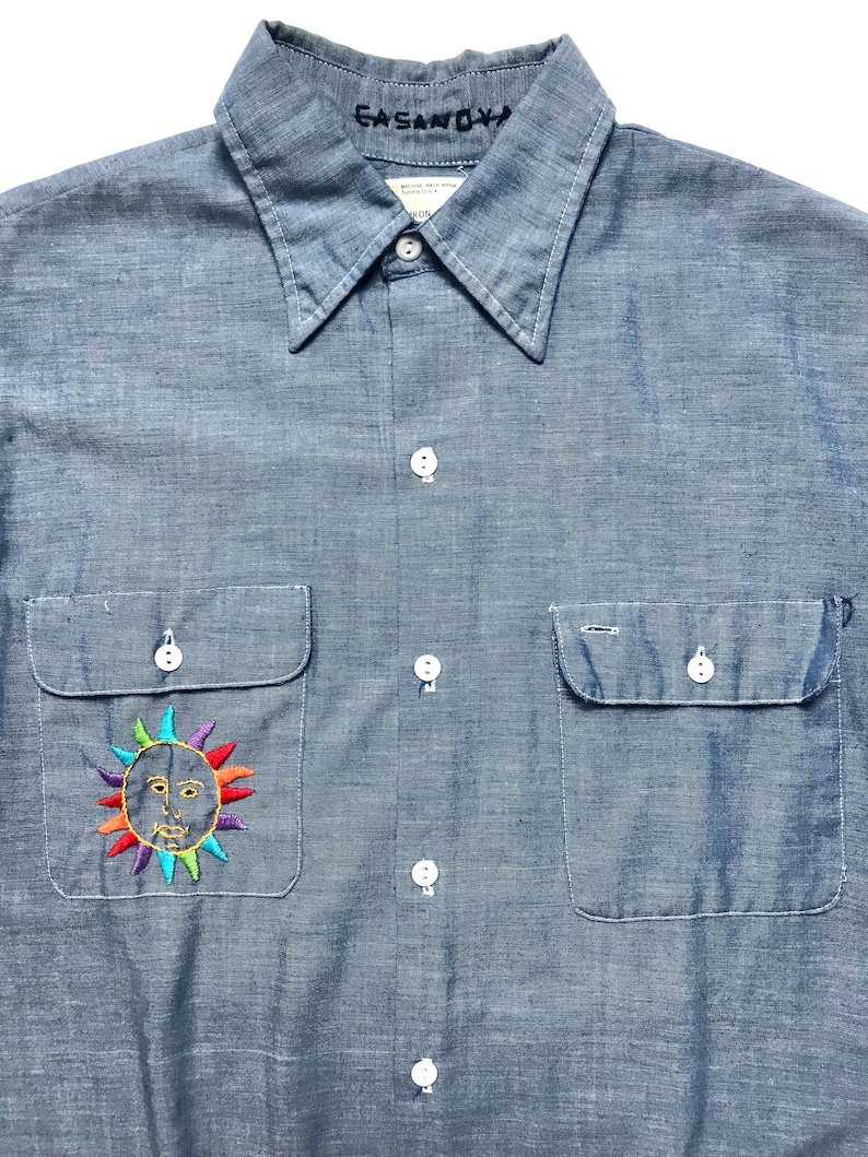 01825961a Vintage BIG MAC   JCPenney Chambray Work Shirt M to L