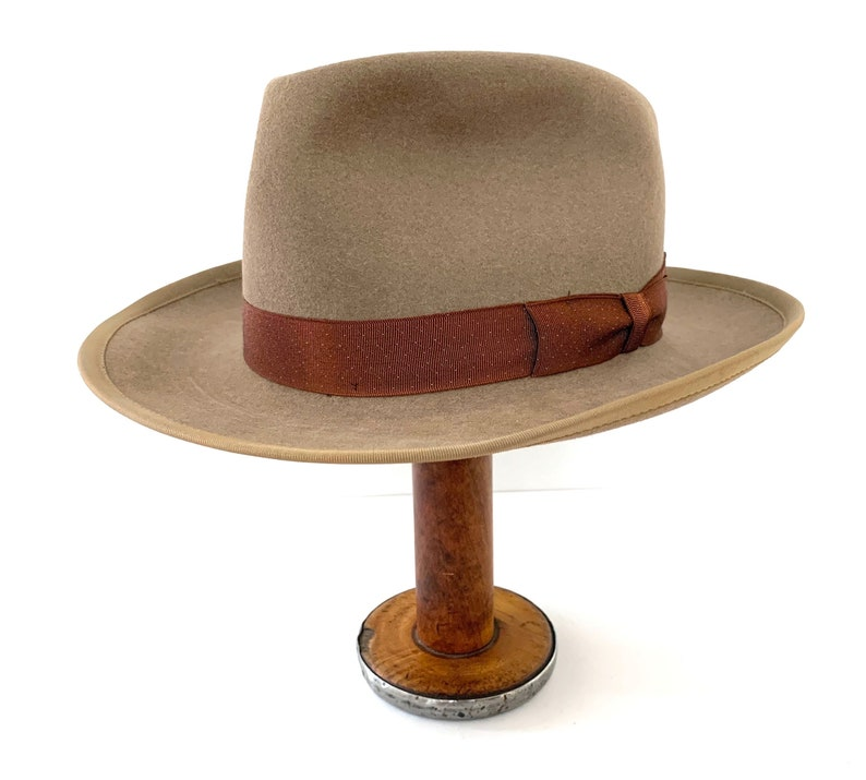 be06ff3b6 Vintage 1940s/1950s WRIGHT Atomic Fedora ~ size 6 7/8 ~ Stetson Whippet  Style ~ Bound Edge ~