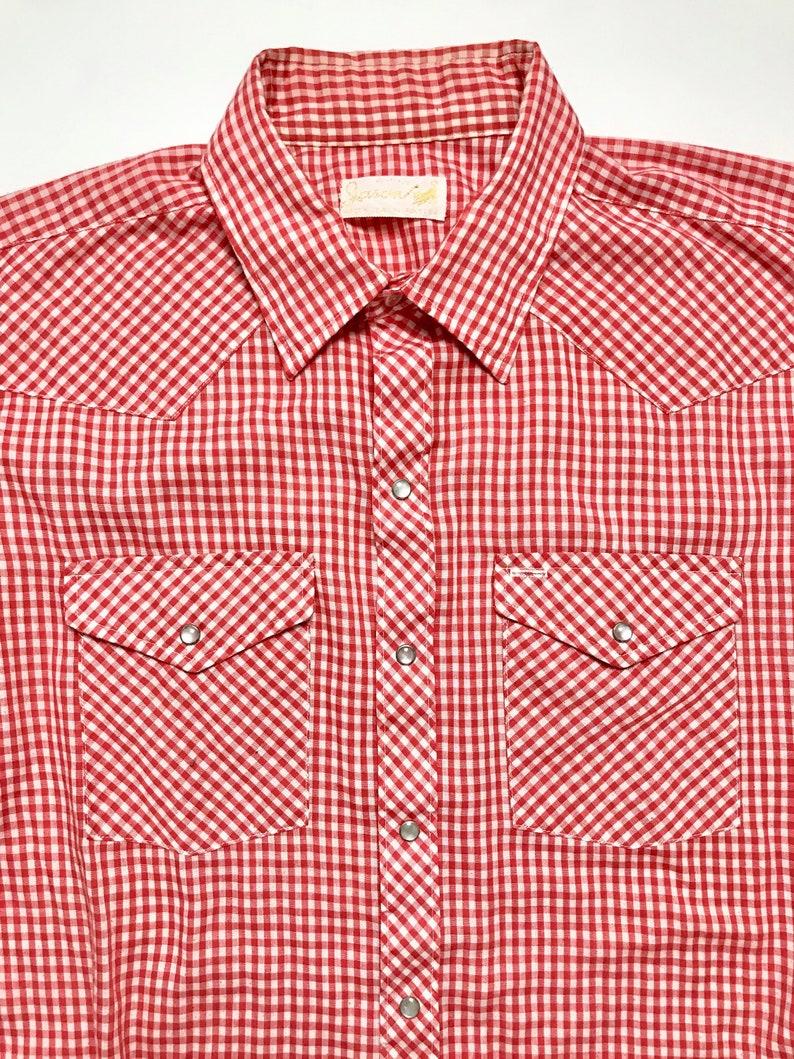 47d4ce38 Vintage 1960s Western Shirt 17 17 1/2 XL Gingham Plaid | Etsy